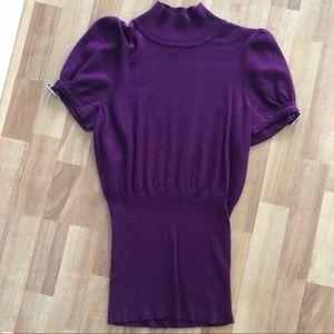 Express women's purple short sleeve sweater top